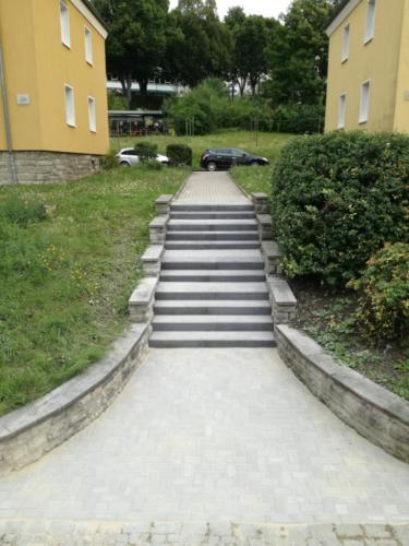 Treppenaufgang mit anthraziten Stufen und Thüringer Rechteck grau 1